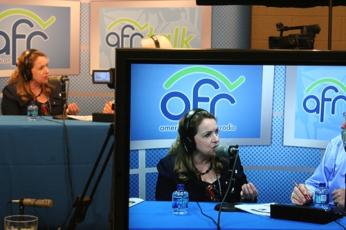 AFR's video feed in their booth while Olivia was live on air.